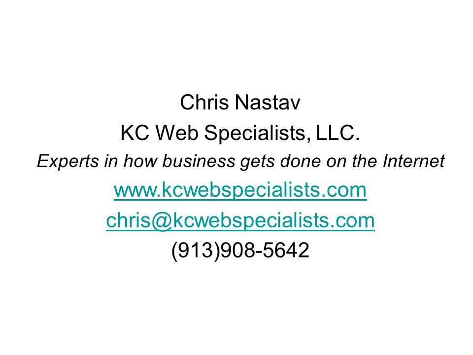 Chris Nastav KC Web Specialists, LLC.