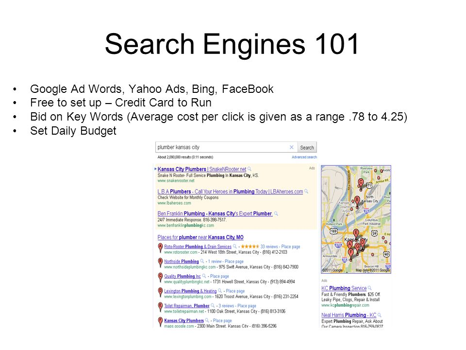 Search Engines 101 Google Ad Words, Yahoo Ads, Bing, FaceBook Free to set up – Credit Card to Run Bid on Key Words (Average cost per click is given as