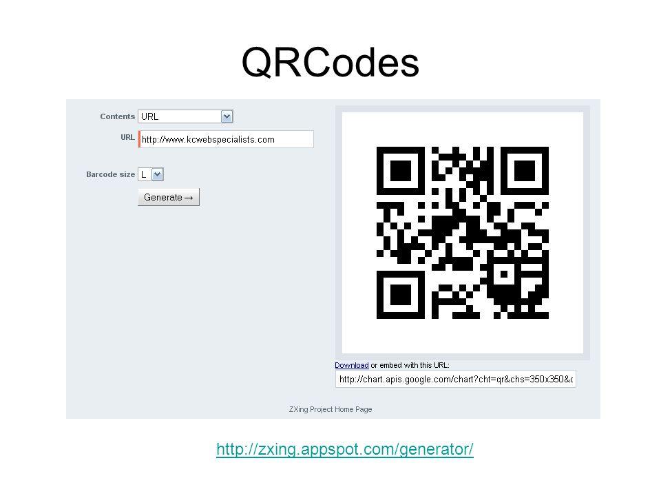 QRCodes http://zxing.appspot.com/generator/