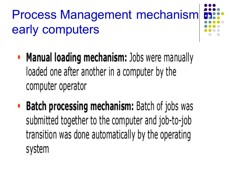 Process Management mechanism in early computers