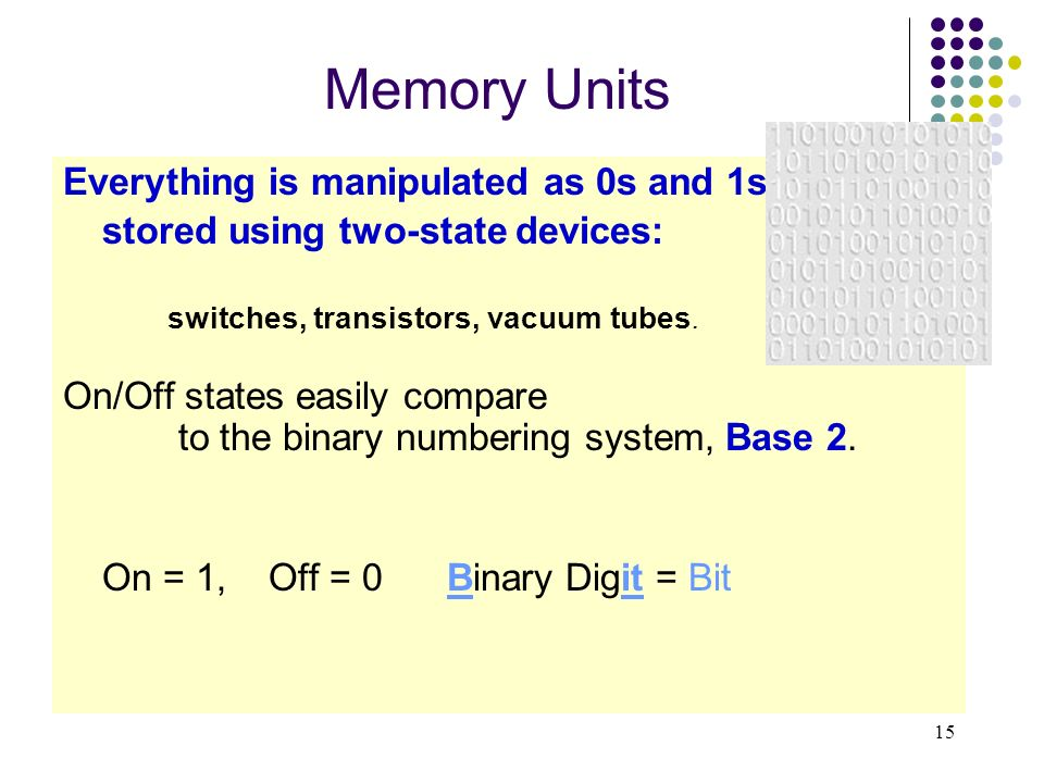 15 Memory Units Everything is manipulated as 0s and 1s stored using two-state devices: switches, transistors, vacuum tubes. On/Off states easily compa