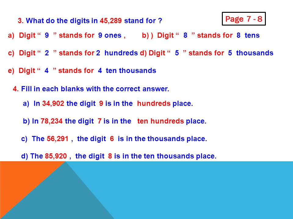 C. Recognize the place value of numbers ………. 1.What are the place value of each digit in 37,985 a) The digit 5 is in the ones place. b) _____ 8 _____