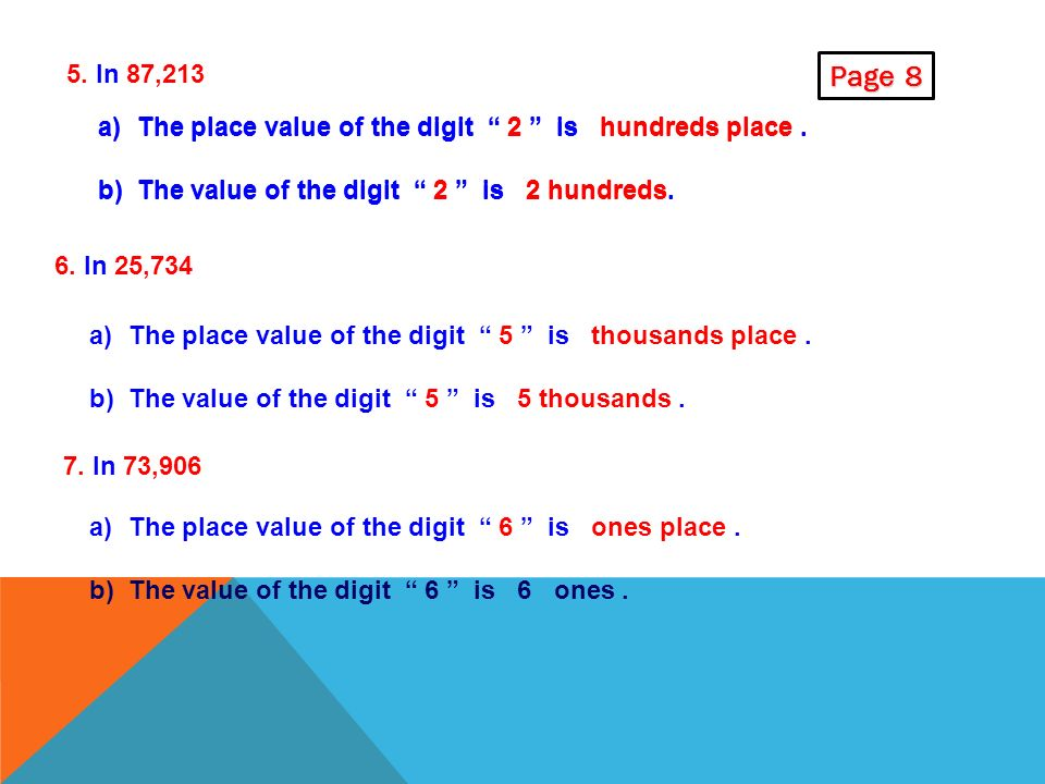 3. What do the digits in 45,289 stand for ? a)Digit 9 stands for 9 ones, b) ) Digit 8 stands for 8 tens c)Digit 2 stands for 2 hundreds d) Digit 5 sta