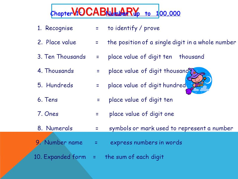 OBJECTIVES 1. Be able to read numbers to hundred thousand 2. Be able to identify the place value of each digit in numbers up to one hundred thousand 3