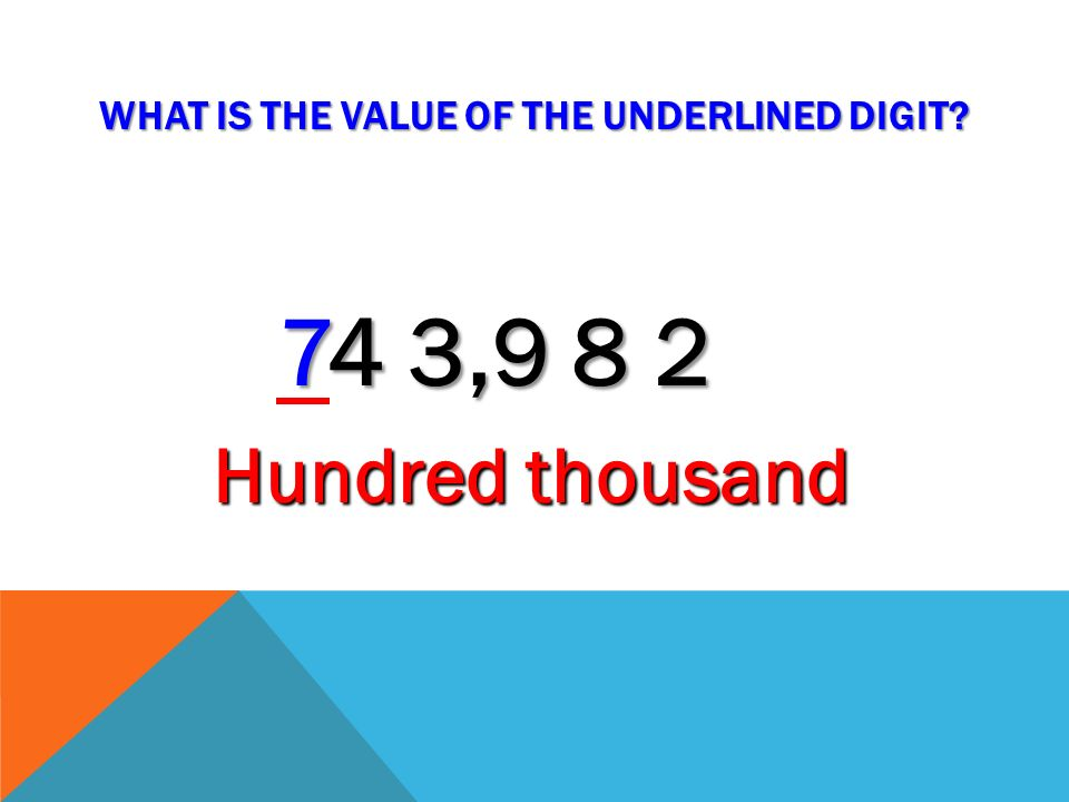 WHAT IS THE VALUE OF THE UNDERLINED DIGIT? 7 4 3,9 8 2 Thousand