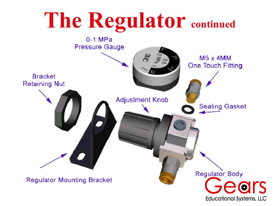 Note: Be certain to verify the direction of air flow through the regulator.