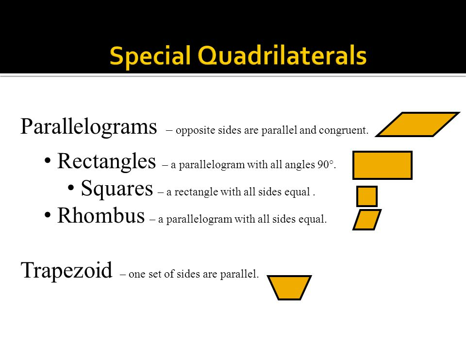 Quadrilateral – a polygon with 4 angles and 4 straight sides.