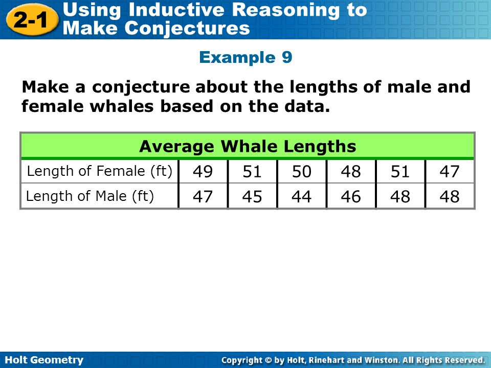 Holt Geometry 2-1 Using Inductive Reasoning to Make Conjectures Example 9 Make a conjecture about the lengths of male and female whales based on the d