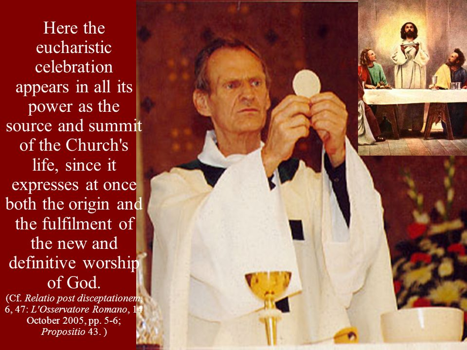 Saint Paul s exhortation to the Romans in this regard is a concise description of how the Eucharist makes our whole life a spiritual worship pleasing to God: