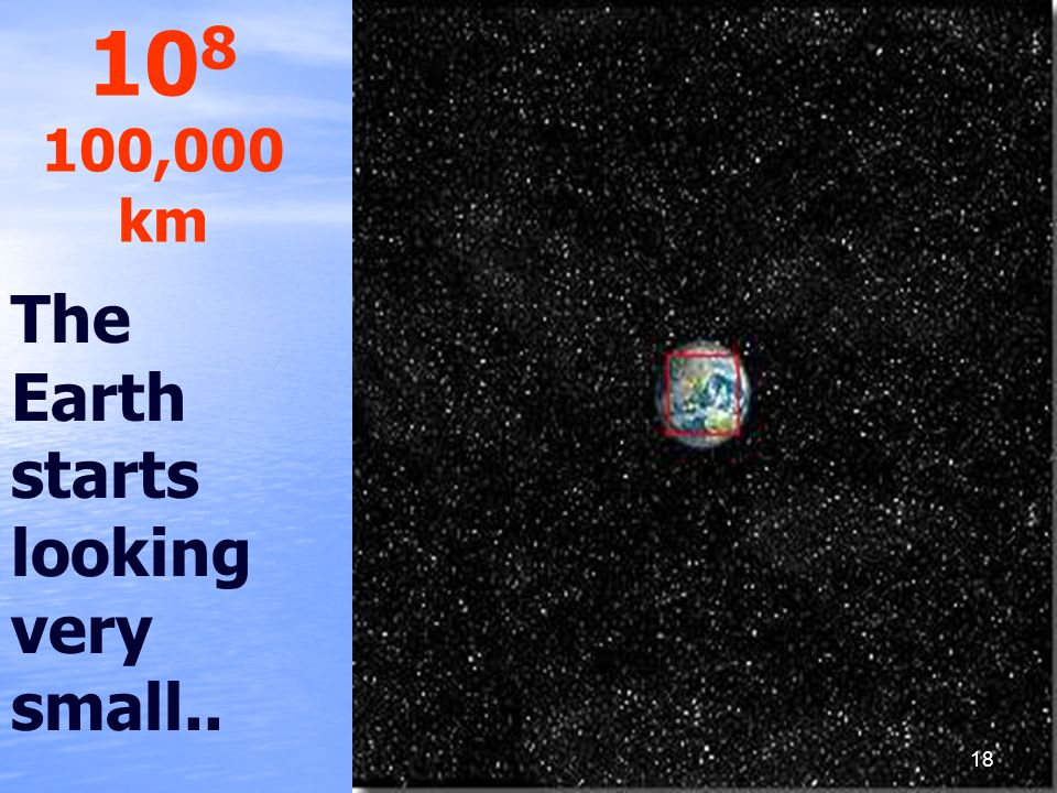 The Earth starts looking very small.. 10 8 100,000 km 18