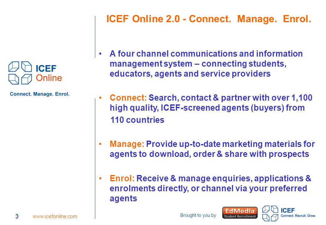 3   Brought to you by 3 ICEF Online Connect.