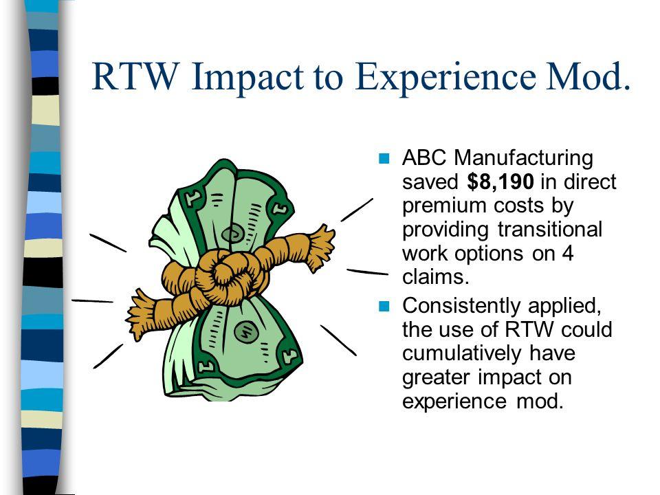 RTW Impact to Experience Mod.