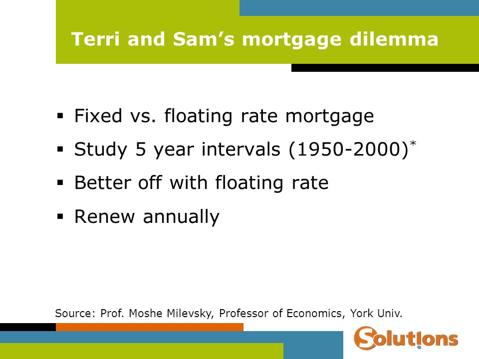 Terri and Sams mortgage dilemma Fixed vs. floating rate mortgage Study 5 year intervals (1950-2000) * Better off with floating rate Renew annually Sou