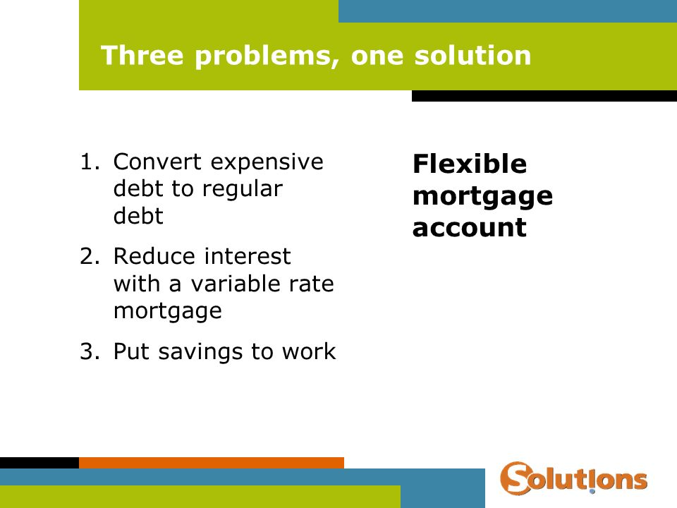 Three problems, one solution 1.Convert expensive debt to regular debt 2.Reduce interest with a variable rate mortgage 3.Put savings to work Flexible mortgage account