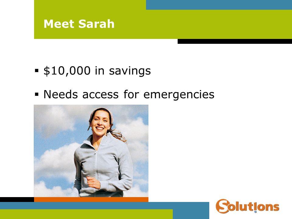 Meet Sarah $10,000 in savings Needs access for emergencies