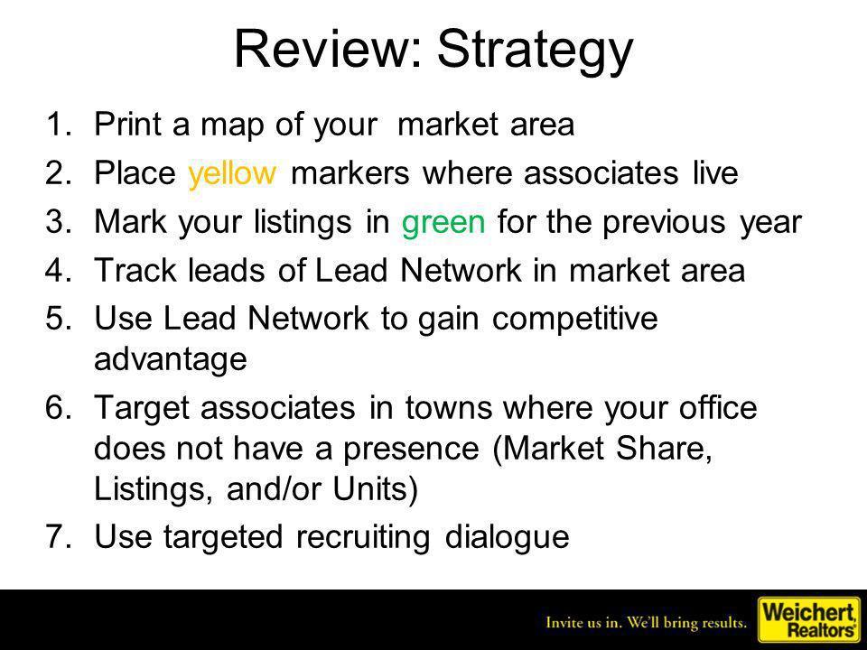 Review: Strategy 1.Print a map of your market area 2.Place yellow markers where associates live 3.Mark your listings in green for the previous year 4.Track leads of Lead Network in market area 5.Use Lead Network to gain competitive advantage 6.Target associates in towns where your office does not have a presence (Market Share, Listings, and/or Units) 7.Use targeted recruiting dialogue