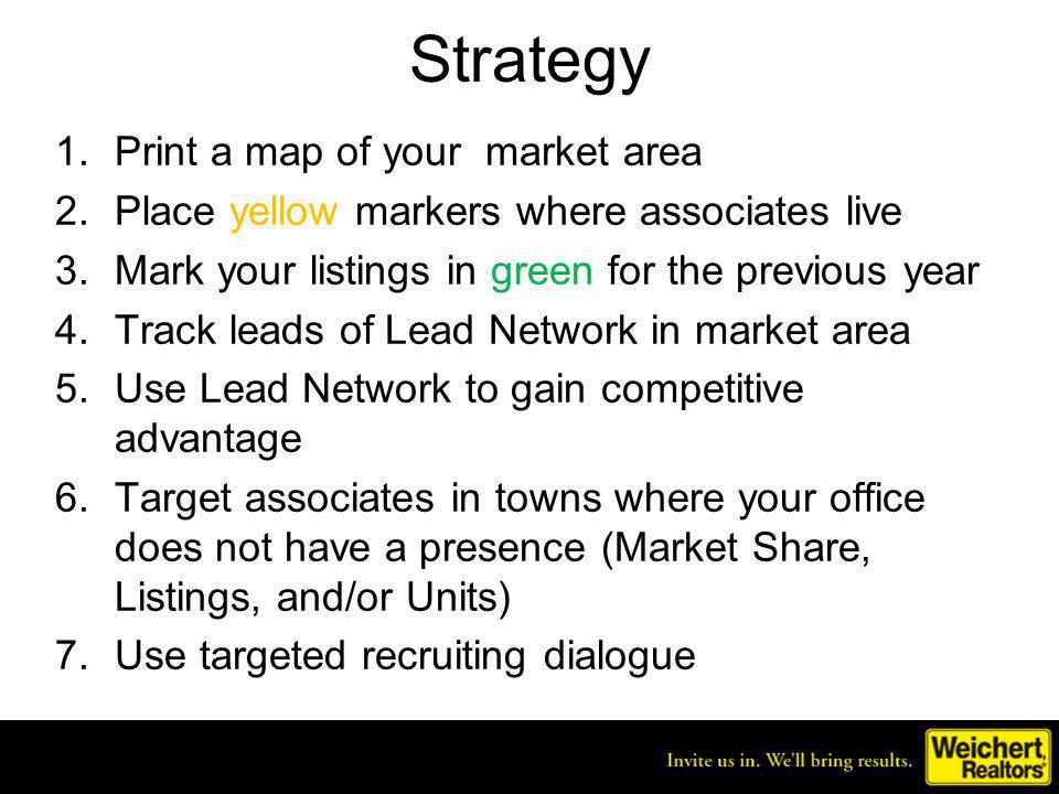 Create a Map of Your Market Area Key: Associates homes Listings Number of associates and listings are approximate.