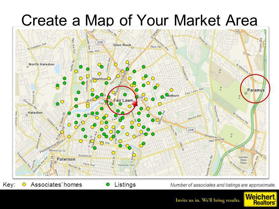 Office Assessment Yellow dots are where my sales associates currently reside Green dots represent listings last year in our market area Growth opportunity for Fair Lawn office lies in Paramus, a neighboring town where we dont have any listings or associates
