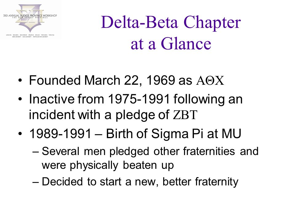 Delta-Beta Chapter at a Glance Founded March 22, 1969 as AΘX Inactive from following an incident with a pledge of ZBT – Birth of Sigma Pi at MU –Several men pledged other fraternities and were physically beaten up –Decided to start a new, better fraternity
