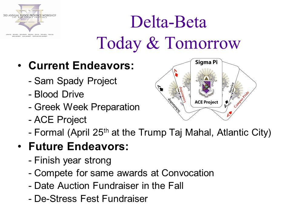 Delta-Beta Today & Tomorrow Current Endeavors: - Sam Spady Project - Blood Drive - Greek Week Preparation - ACE Project - Formal (April 25 th at the Trump Taj Mahal, Atlantic City) Future Endeavors: - Finish year strong - Compete for same awards at Convocation - Date Auction Fundraiser in the Fall - De-Stress Fest Fundraiser