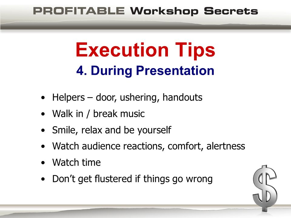 Execution Tips 4.
