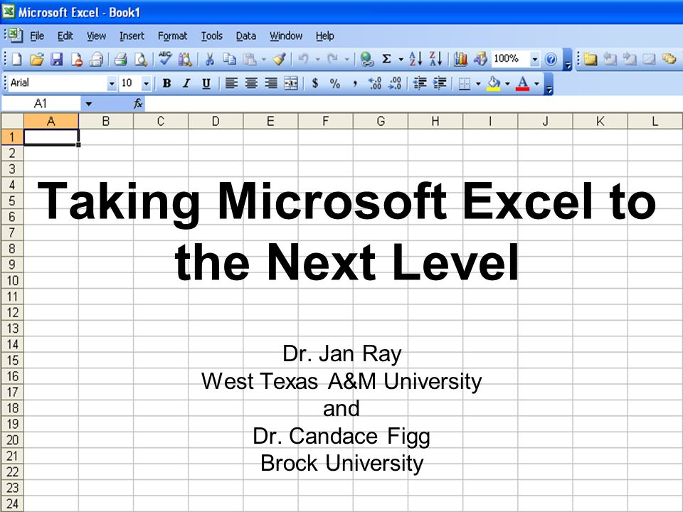 Taking Microsoft Excel to the Next Level Dr. Jan Ray West Texas A&M University and Dr.