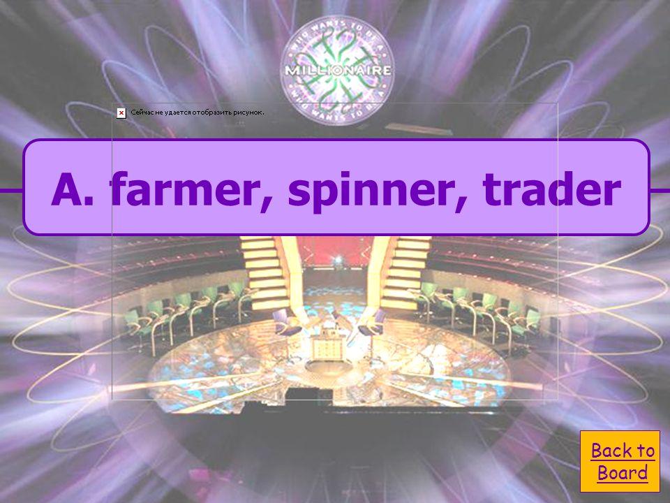 A. farmer, spinner, trader C. voter, owner, farmer B.