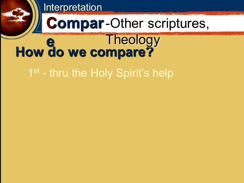 Interpretation How do we compare? 1 st - thru the Holy Spirits help C Compar e -Other scriptures, Theology