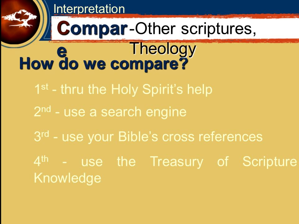 Interpretation How do we compare? 1 st - thru the Holy Spirits help C Compar e -Other scriptures, Theology 2 nd - use a search engine 3 rd - use your