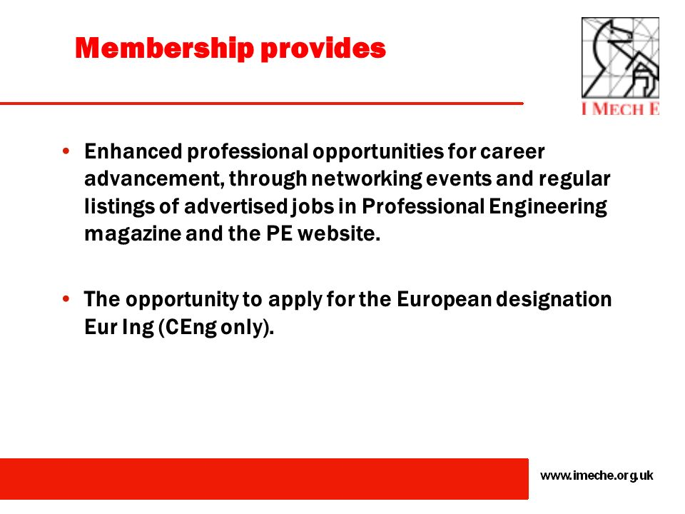 The accredited route to becoming a Chartered Engineer or an Incorporated Engineer and the use of the designation CEng or IEng. The recognised professi