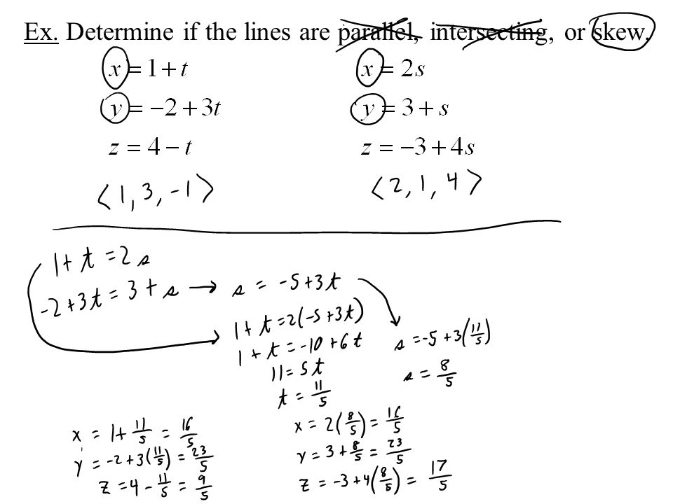 Ex. Determine if the lines are parallel, intersecting, or skew.