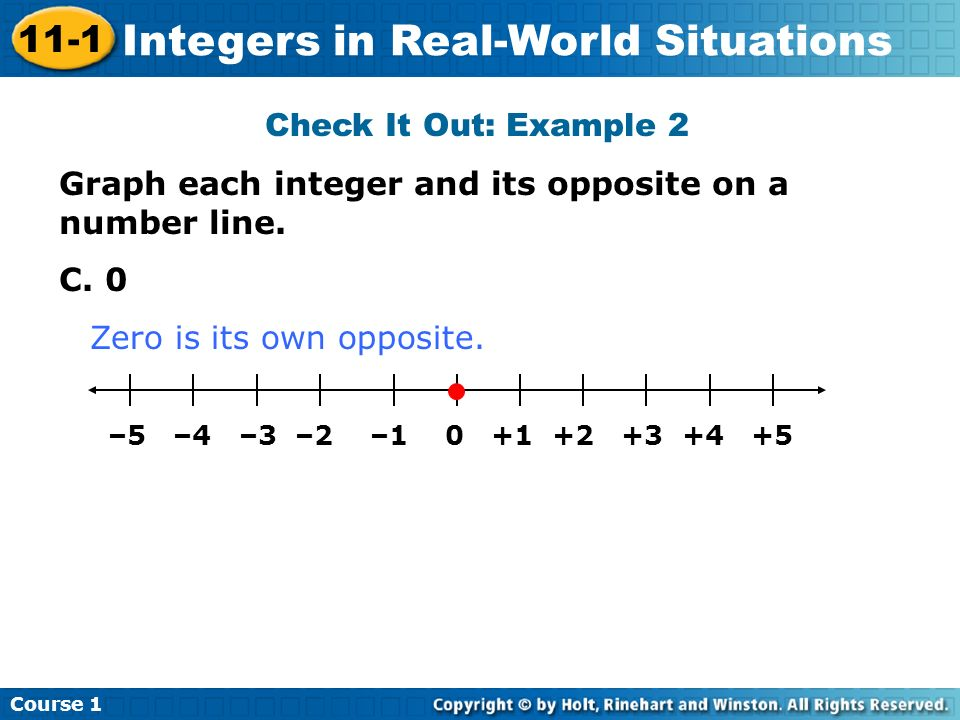 Course 1 11-1 Integers in Real-World Situations Check It Out: Example 2 Graph each integer and its opposite on a number line. C. 0 –5 –4 –3 –2 –1 0 +1