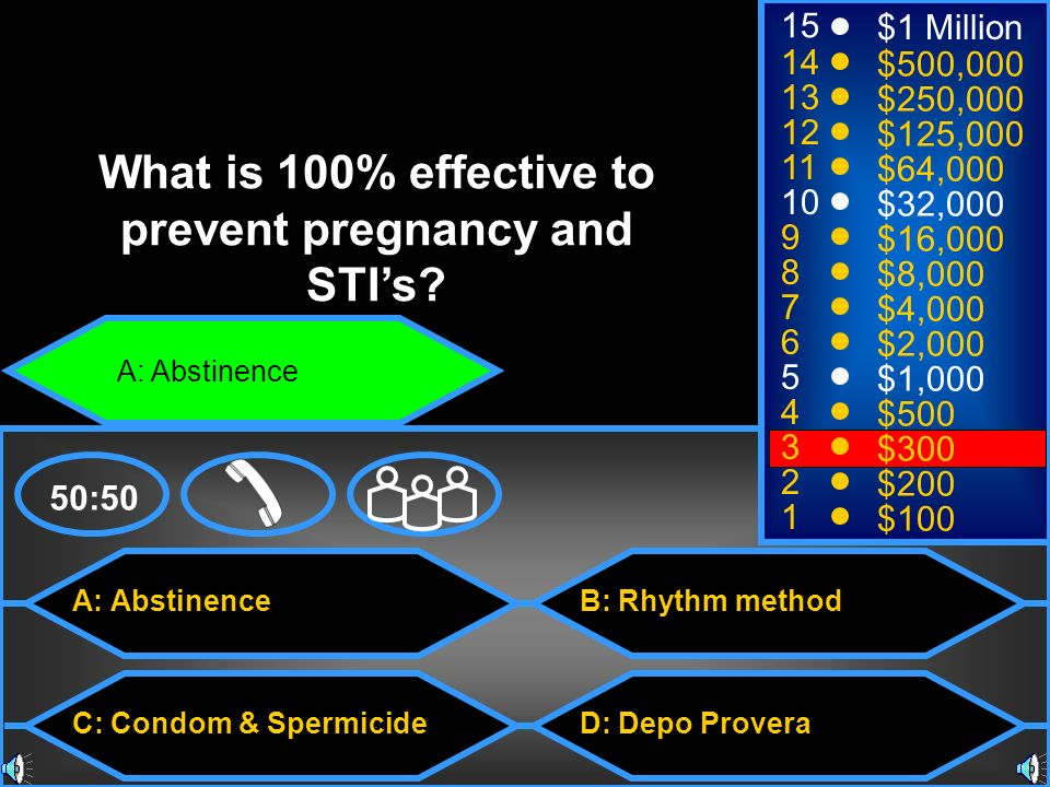 A: Abstinence C: Condom & Spermicide B: Rhythm method D: Depo Provera 50:50 15 14 13 12 11 10 9 8 7 6 5 4 3 2 1 $1 Million $500,000 $250,000 $125,000 $64,000 $32,000 $16,000 $8,000 $4,000 $2,000 $1,000 $500 $300 $200 $100 What is 100% effective to prevent pregnancy and STIs.