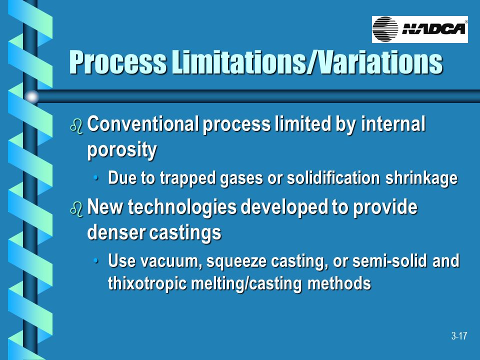 3-17 Process Limitations/Variations b Conventional process limited by internal porosity Due to trapped gases or solidification shrinkage Due to trappe