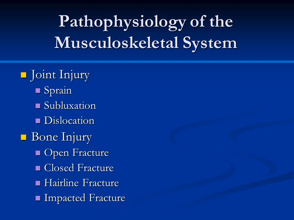 Joint Injury Joint Injury Sprain Sprain Subluxation Subluxation Dislocation Dislocation Bone Injury Bone Injury Open Fracture Open Fracture Closed Fra