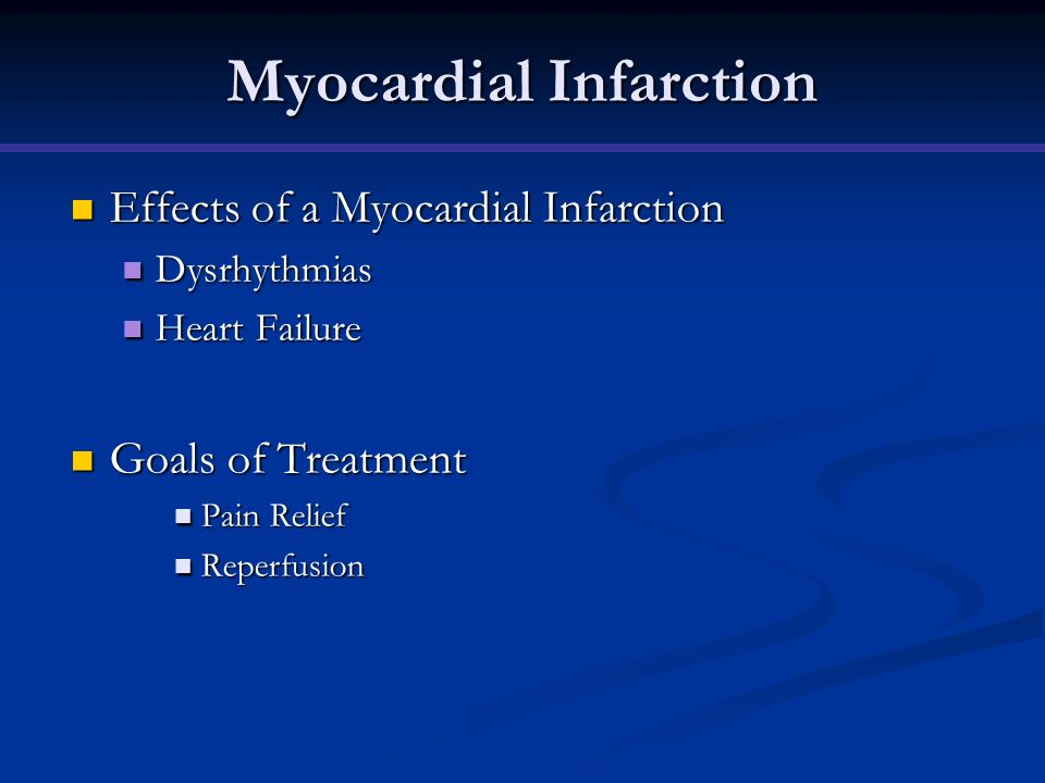 Myocardial Infarction Effects of a Myocardial Infarction Effects of a Myocardial Infarction Dysrhythmias Dysrhythmias Heart Failure Heart Failure Goal