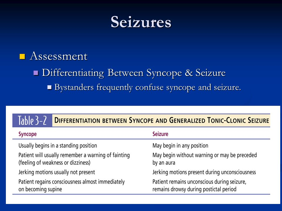Seizures Assessment Assessment Differentiating Between Syncope & Seizure Differentiating Between Syncope & Seizure Bystanders frequently confuse synco