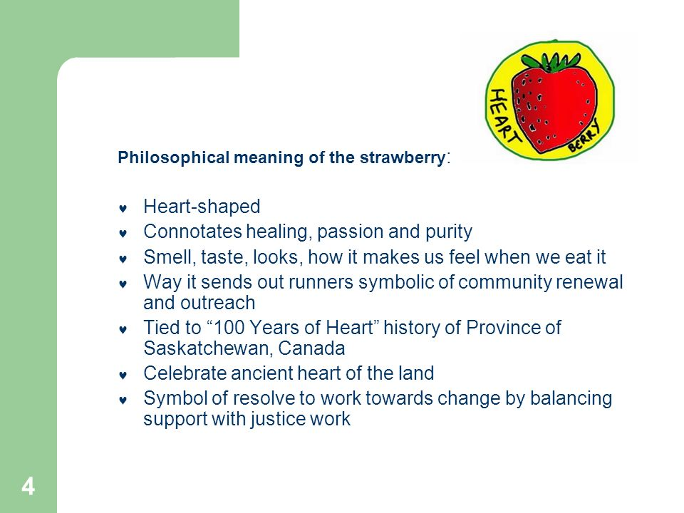 4 Philosophical meaning of the strawberry : Heart-shaped Connotates healing, passion and purity Smell, taste, looks, how it makes us feel when we eat it Way it sends out runners symbolic of community renewal and outreach Tied to 100 Years of Heart history of Province of Saskatchewan, Canada Celebrate ancient heart of the land Symbol of resolve to work towards change by balancing support with justice work