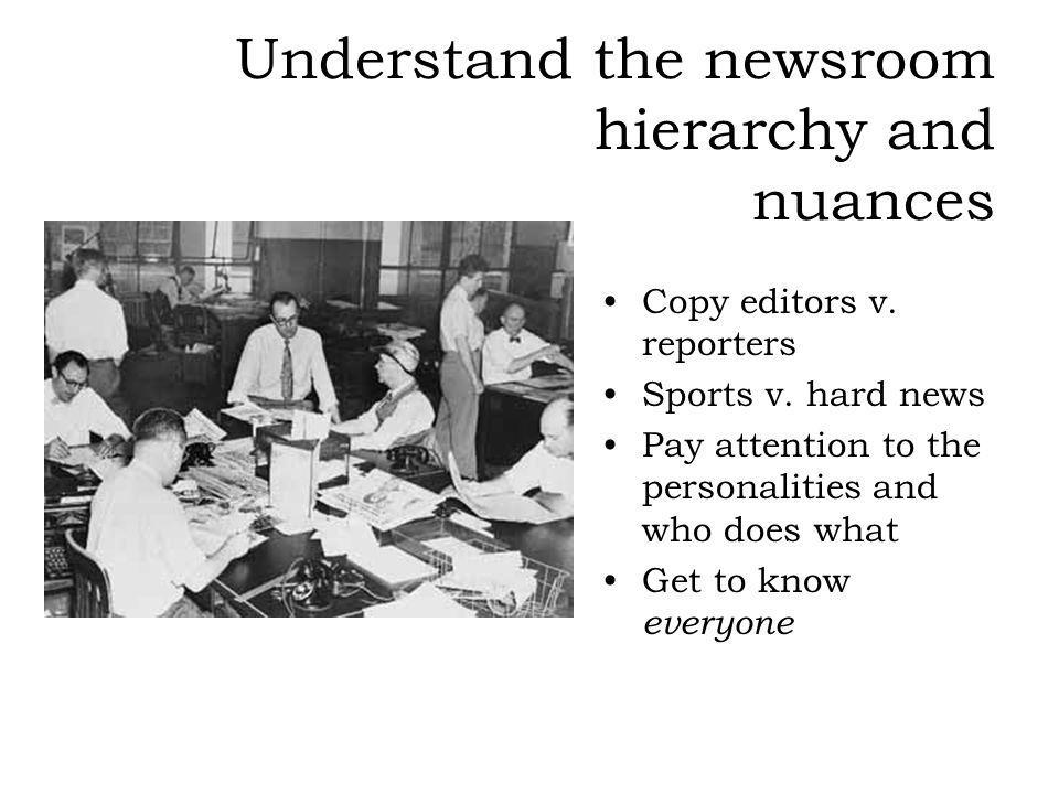 Understand the newsroom hierarchy and nuances Copy editors v. reporters Sports v. hard news Pay attention to the personalities and who does what Get t