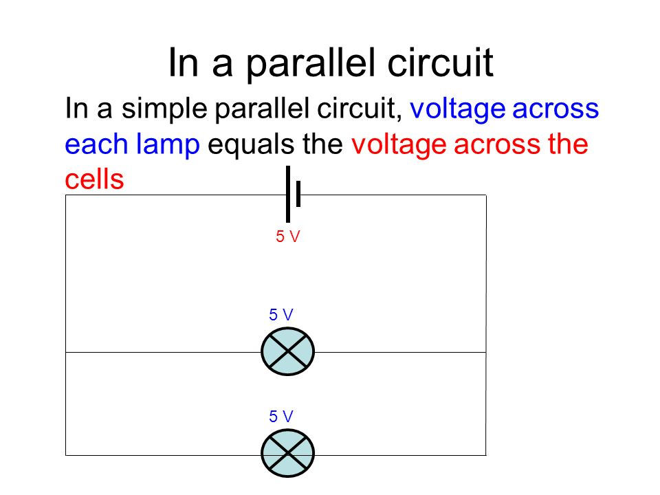 In a parallel circuit In a simple parallel circuit, voltage across each lamp equals the voltage across the cells 5 V