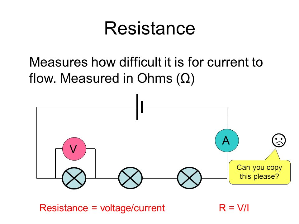Resistance Measures how difficult it is for current to flow. Measured in Ohms (Ω) VA Resistance = voltage/currentR = V/I Can you copy this please?