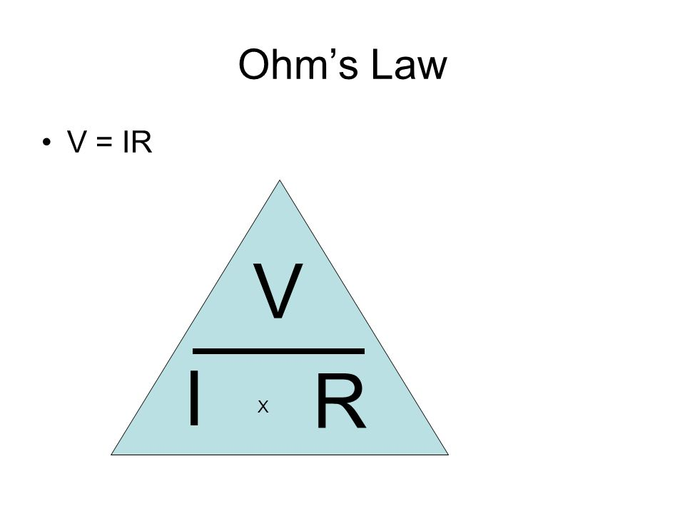 Ohms Law V = IR V R I X