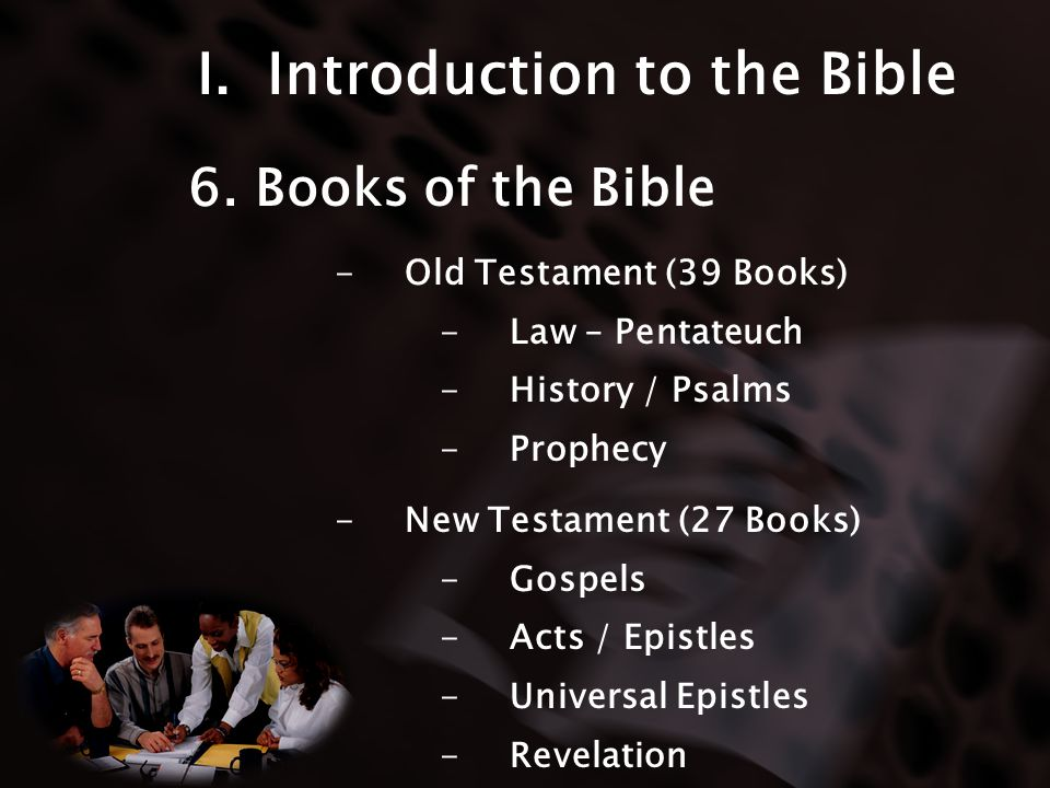 I.Introduction to the Bible 6. Books of the Bible -Old Testament (39 Books) -Law – Pentateuch -History / Psalms -Prophecy -New Testament (27 Books) -G