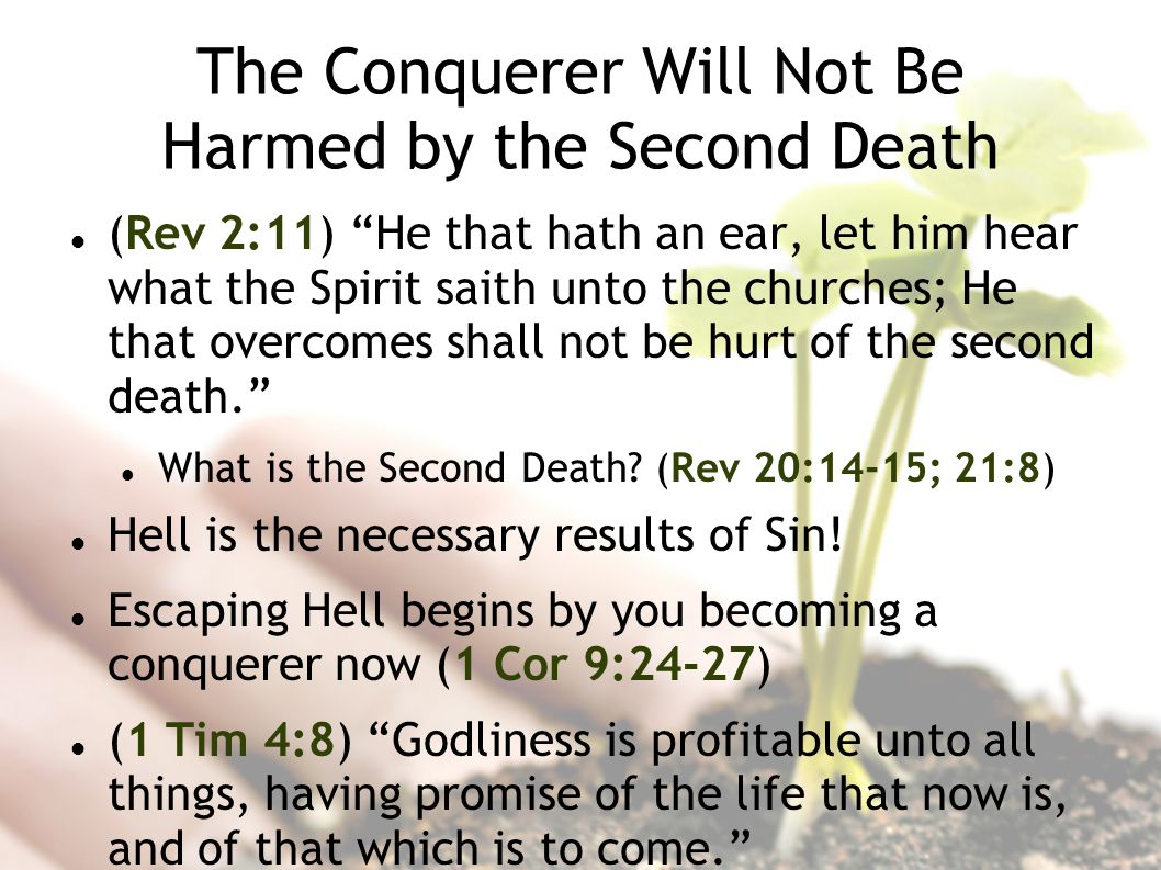 The Conquerer Will Not Be Harmed by the Second Death (Rev 2:11) He that hath an ear, let him hear what the Spirit saith unto the churches; He that overcomes shall not be hurt of the second death.
