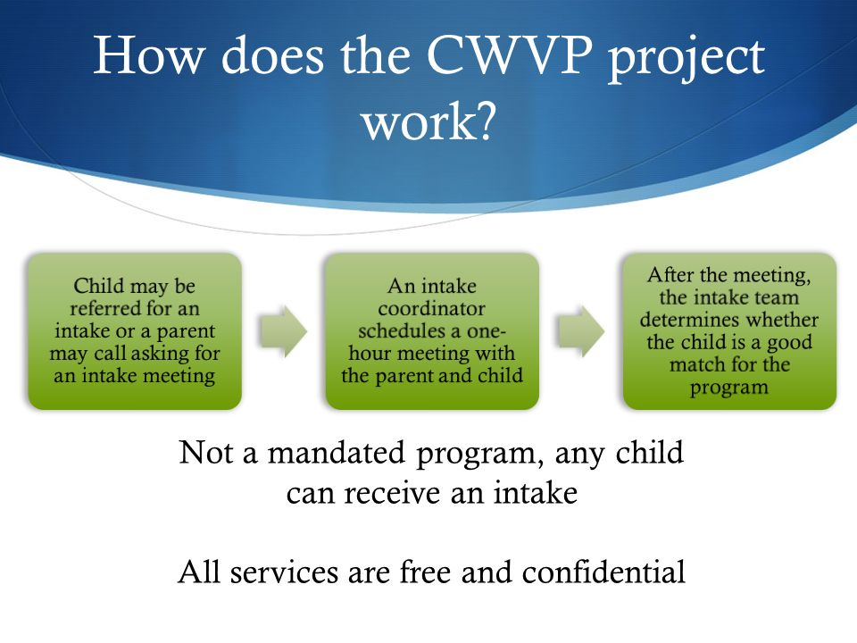 How does the CWVP project work? Child may be referred for an intake or a parent may call asking for an intake meeting An intake coordinator schedules