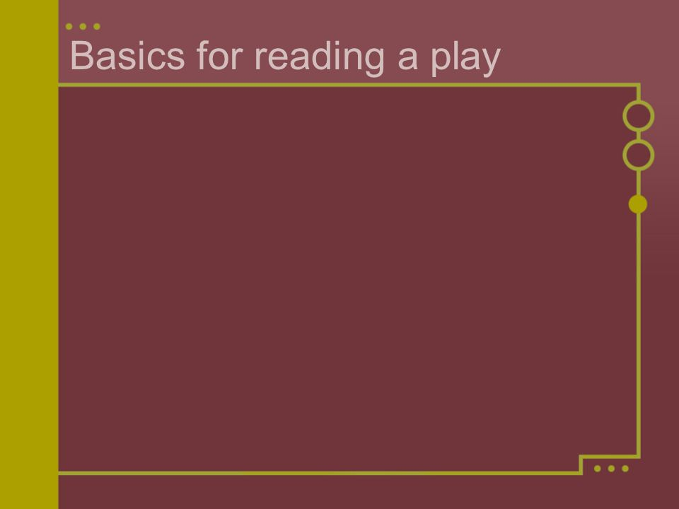 Basics for reading a play