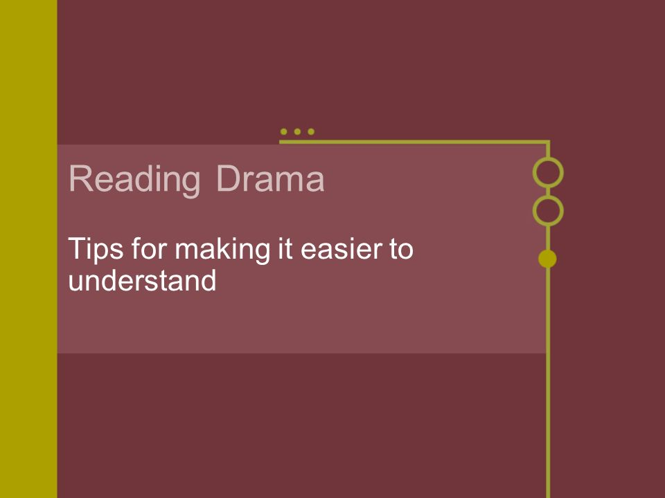Reading Drama Tips for making it easier to understand