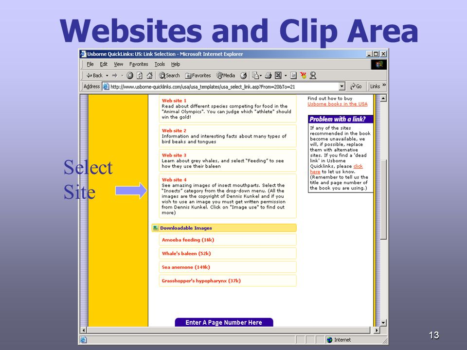 13 Websites and Clip Area Select Site