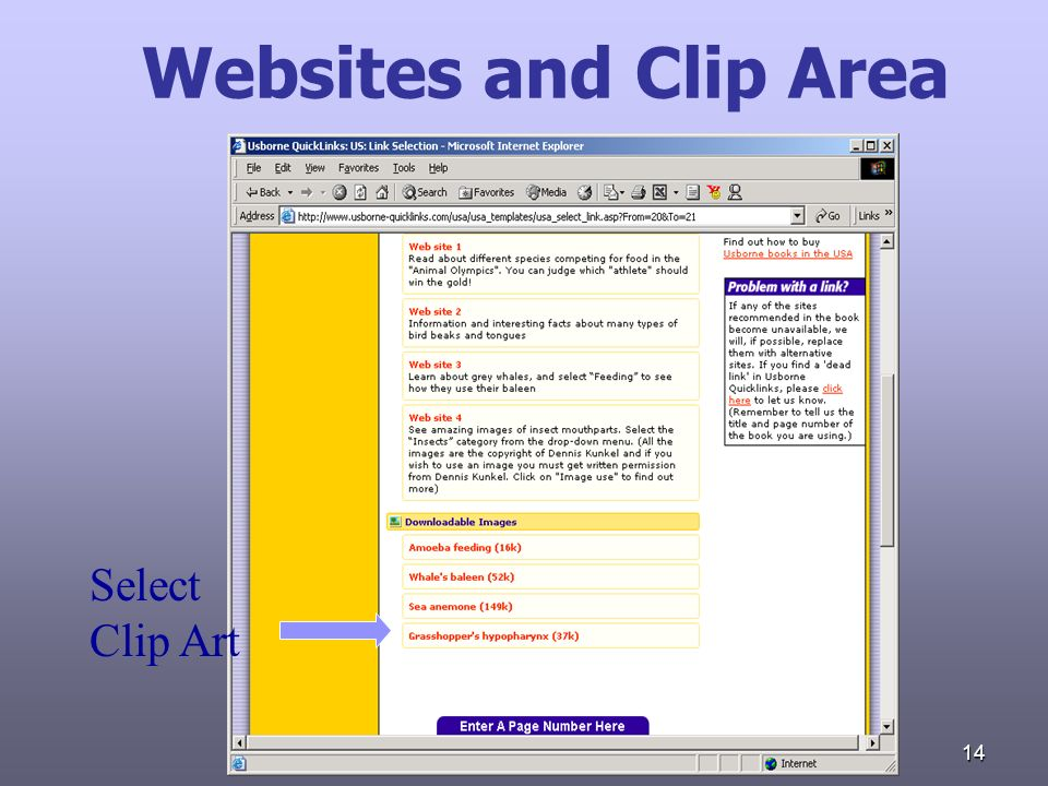 14 Websites and Clip Area Select Clip Art