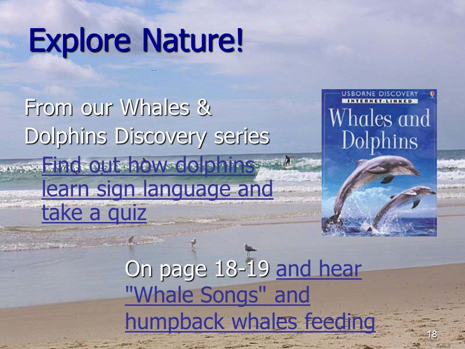 18 Explore Nature! From our Whales & Dolphins Discovery series Find out how dolphins learn sign language and take a quiz On page 18-19 On page 18-19 a